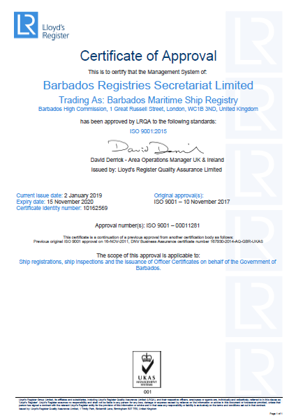 Barbados Maritime ISO Certificate graphic
